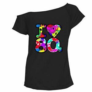 Women's Ladies Multi I Love the 80s Fancy Dress Hen Party Retro T-Shirt Top 8-22
