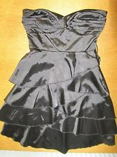 BLACK SHORT TIERED PARTY DRESS BAY SIZE 8 FULLY LINED