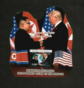 Central Africa 2018 - Donald Trump Meeting Kim Jong-un - Souvenir Sheet - MNH