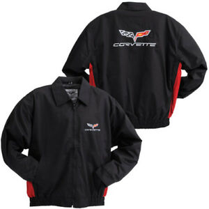 C6 Corvette Black/Red Lightweight Twill Jacket