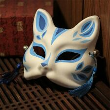 Japanese Traditional Fox Kitsune Mask Blue Omen Cosplay Costume Hand made