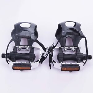1 Pair Mountain Road Bike Fixed Gear Bicycle Pedals with Toe Clips Straps