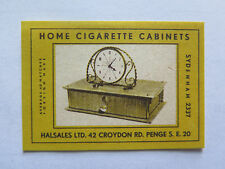 HOME CIGARETTE CABINETS MATCHES MATCH BOX LABEL c1950s NORMAL SIZE MADE AUSTRIA