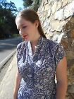 Vintage 1940s Blue & White PAISLEY DRESS Women's Large 12 to 14 Acetate PRETTY!