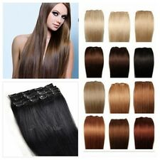 100% Real Human Hair Full Head Clip in Remy lot Extensions Full Head 15''-20''