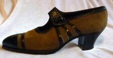 Vintage 1910s -20s Brown Suede & Black Leather Shoes Size 6 Edwardian Art Deco