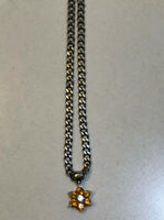 NEW !Flower Citrine Colored Cz And White Cz Necklace with Stunning  Pendant