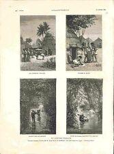 Fouta-Djalon montagne de Guinée Village Pileuses de Millet Afrique GRAVURE 1882