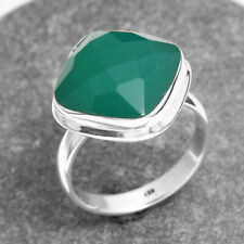 FACETED Natural Green Onyx Gemstone 925 Sterling Silver handmade Ring Size US 6