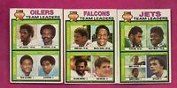 1979 TOPPS OILERS + JETS + FALCONS UNMARKED TEAM CHECKLIST (INV# A6150)