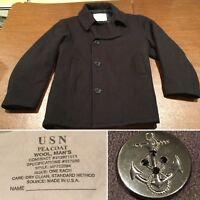 Men's Size XL Black Wool Authentic MILITARY NAVY PEACOAT COAT Jacket Extra-Large