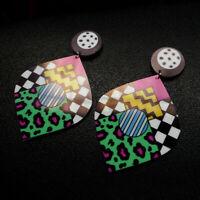 1 Pair Women Acrylic Resin Colorfull Earring Boho Dangle Drop Stud Earring