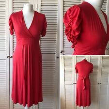 NWOT Debenhams Coral Wrap Draped Ruched Sleeve Stretch Dress Size 12