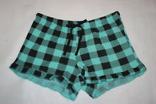 Womens Pajama Sleep Shorts MINT TEAL GREEN & BLACK CHECKERED PLAID Ruffle S 4-6
