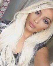 Kylie Jenner Platinum hair.  light blonde lace front wig. human