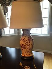 Pair Oriental Accent Ceramic Asian Lamps Bamboo Floral 26� Yellow Linen