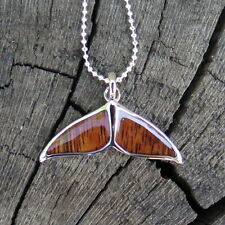 Hawaii Jewelry Koa Wood Whale Tail Silver Rhodium Plated Brass Pendant BRP1115