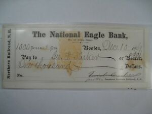 1869 Canceled $1000 Check From The National Eagle Bank, Boston.  #49