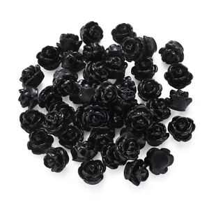 50Pcs Rose Flower Opaque Resin Beads For DIY Craft Jewelry Making Design Decorat