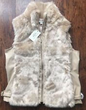 NEW GUESS Women's Sleeveless Faix Fur PU Full Zip Beige Vest Jacket sz Large