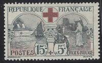 n°156 Croix rouge 15c+5c noir et rouge 1918 Neuf* TB - Signé Calves