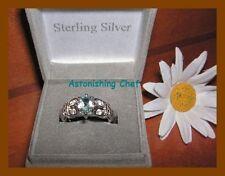 AVON STERLING SILVER BLUE TOPAZ RING & GIFT BOX SZ 7