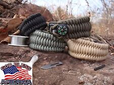 True Military Survival Paracord Bracelet: Fire, Snare, Blade, Fishing, compass..