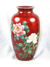 Vintage Japanese Pigeon Red Ginbari Cloisonne Vase - ROSES - Silver Rims