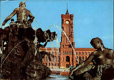 BERLIN Ost DDR AK Postkarte Neptun-Brunnen rotes Rathaus Ansichtskarte 1981