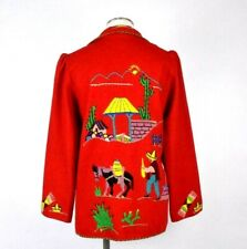 Vintage 1940s Red Wool Jacket Embroidered Mexican Blazer Open Front Top Womens M