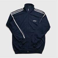 Mens Vintage Adidas Track Top Fleece Medium Navy
