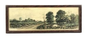 Antique Circa 1900 Lithograph Print of Country Road Pastoral Landscape Framed