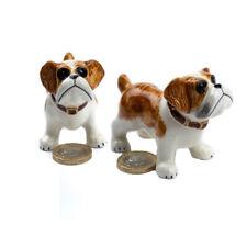 Miniature Ceramic Bulldog Standing Figurine Ornament (Pack of Two)