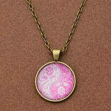 Vintage Yin Yang Cats Necklace Pendant Kolye Cabochon Long Chain Statement 1 Pc