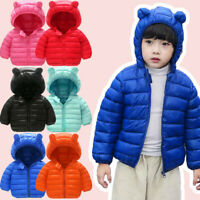 Toddler Kids Baby Girls Boys Hooded Outdoor Jacket Thick Warm Windproof Coat