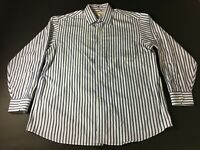 Tommy Bahama Mens Blue White Striped Front Pocket Button Front Shirt 17.5 34/35