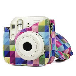 Für Fujifilm Instax Mini 9 /8+ /8 Umhängetasche Tragetasche Schutzhülle PU Leder