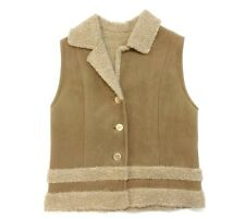 Fjall Womens Size Medium Wool Fleece Faux Tan Suede Vest Made in USA