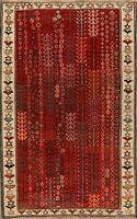 Vintage Geometric Gabbeh Hand-Knotted Tribal Area Rug Wool Oriental Carpet 4'x7'