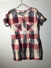 Gorman Womens Linen/cotton Checkered Shift Dress Size 12 Short Sleeve