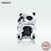 Voroco S925 Sterling Silver New Panda Pendant Bead Charm CZ To Necklace Bracelet