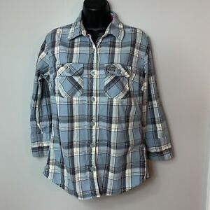 Superdry Co Womens Youth Blue Plaid Button Down Size Large Fits Like Small