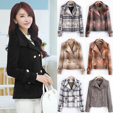 Wool Blend Check Hip Length Casual Coats & Jackets for Women