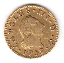 ESPAÑA: 1/2 escudo oro 1759 JV Sevilla (durillo oro) Rey Carlos III  Spain gold