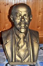 LARGE LENIN BUST Vladimir Russian Communist Leader Cast Bust USSR Gold Paint