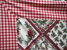 Rare April Cornell Holiday Christmas Chickadee/Gingham Tablecloth Napkins 60x115