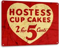 Hostess Cup Cakes Heart Kitchen Cottage Farm Food Desert Retro Rustic Metal Sign