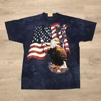 The Mountain 2001 Bald Eagle Tie Dye T Shirt Blue Mens Size XL
