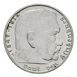 III. Reich 2 Reichsmark 1939 A Hindenburg Gewicht 8g/625