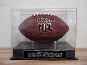 Brett Favre Football Display Case With A Green Bay Packers Engraved Nameplate